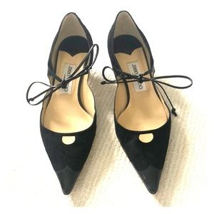 Jimmy Choo black kitten heels with tie bow